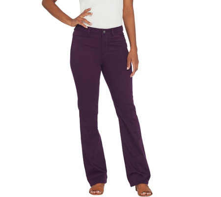 Susan Graver Regular Stretch Twill Mini Boot-Cut Pants
