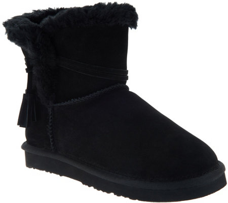 Lamo Water & Stain Resistant Suede Tassel Ankle Boots Thalia —