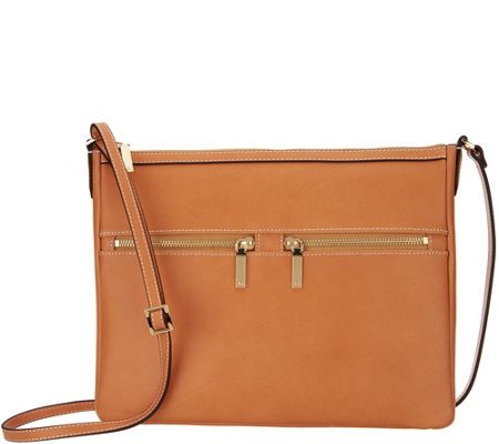 """As Is"" G.I.L.I. Leather Flat Double Zip Crossbody"