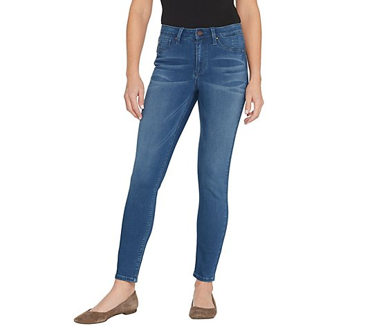 Laurie Felt Silky Denim Ankle Skinny Jeans with Zipper Fly