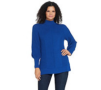 Isaac Mizrahi Live! Bishop Sleeve Engineered Stitch Sweater - A344413