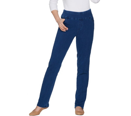 """As Is"" Denim & Co. Petite Comfy Denim Smooth Waist Straight Jeans"