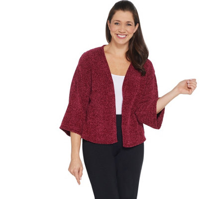 AnyBody Loungewear Chenille Cropped Cardigan