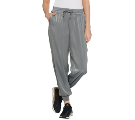 AnyBody Loungewear Petite Satin Jogger Pants