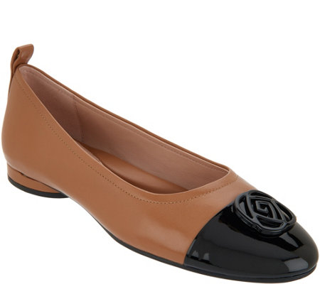 Taryn Rose Leather Cap-Toe Flats - Penelope