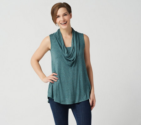 LOGO by Lori Goldstein Jaspe Knit Cowl Neck Sleeveless Top