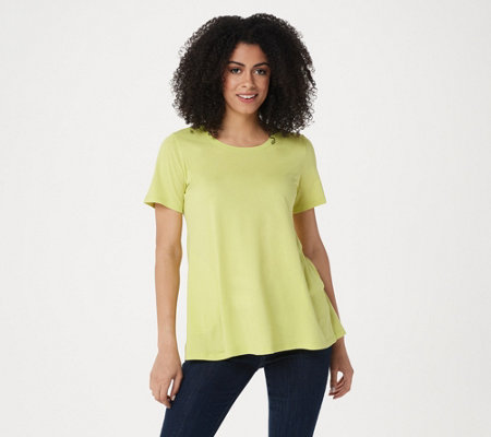 Logo By Lori Goldstein Cotton Modal Swing Top With Hi Low Hem