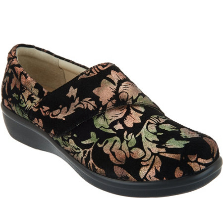 As Is Alegria Printed Nubuck Slip On Shoes With Cross Strap Lauryn