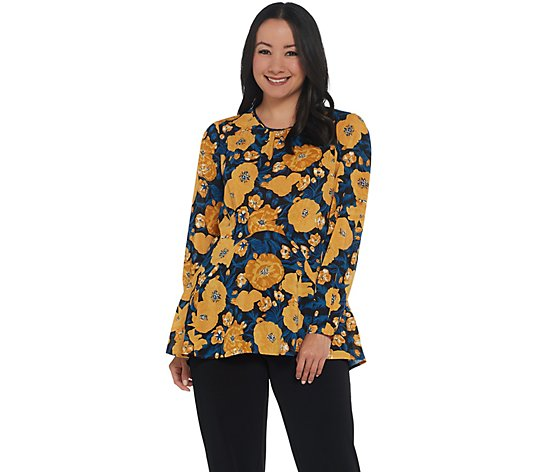 """As Is"" Du Jour Long-Sleeve Floral Printed Woven Top with Seaming Detail"
