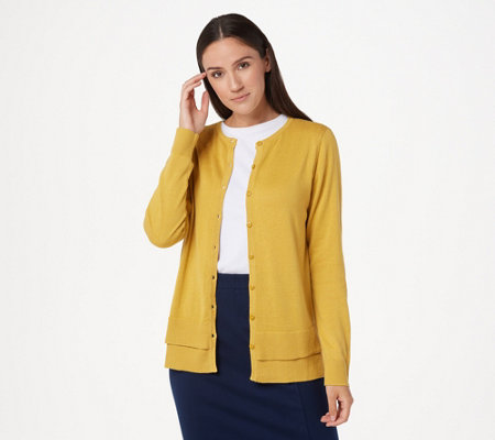 Joan Rivers Button Front Cardigan with Hem Detail