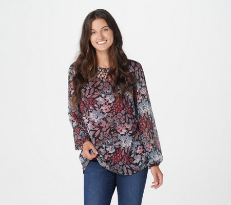 Belle by Kim Gravel Lattice Neck Print Blouse
