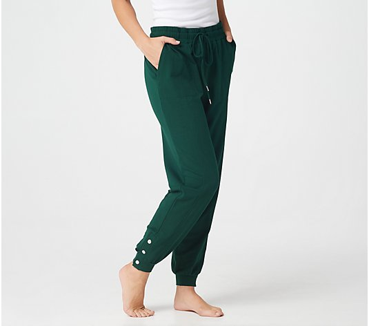 AnyBody Petite French Terry Jogger with Snaps