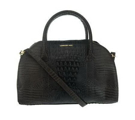 London Fog Croco Embossed Monarch Satchel with Zip Top Closure