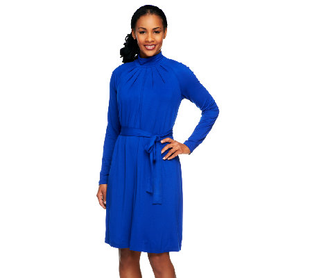 Linea By Louis Dell Olio Jersey Knit Mock Neck Dress With Tie Belt