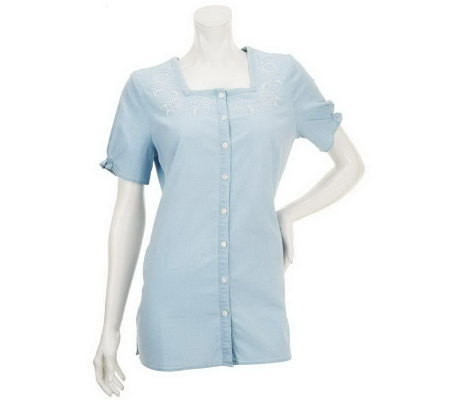 """As Is"" Denim & Co. Embroidered Short Sleeve Chambray Top"
