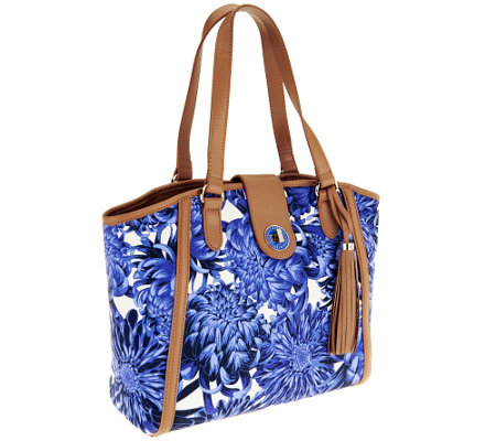 Isaac Mizrahi Live! Bridgehampton Printed Canvas Satchel