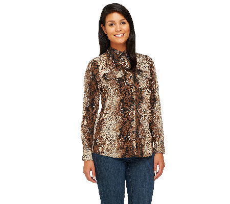 View by Walter Baker Snake Print Button Front Blouse