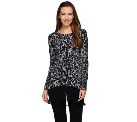 LOGO by Lori Goldstein Cotton Cashmere Animal Print Sweater