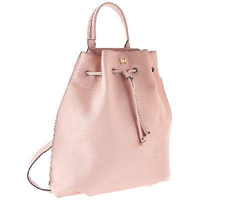 H by Halston Pebble Leather Drawstring Backpack - Page 1 — QVC.com 5593b128f3011