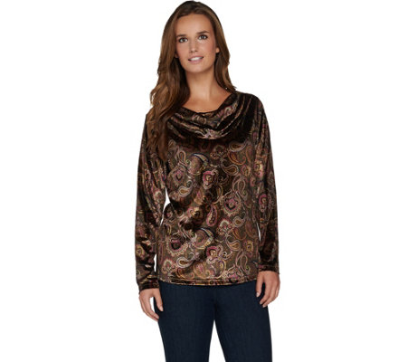Susan Graver Printed Stretch Velvet Long Sleeve Drape Neck Top