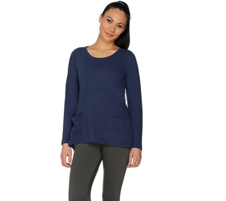 LOGO by Lori Goldstein Slub Knit Top w/ Pockets and Asymmetric Hem