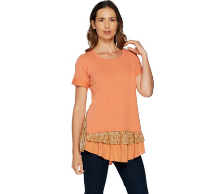LOGO Lounge by Lori Goldstein Top w/ Solid & Printed Woven Tiers at Hem