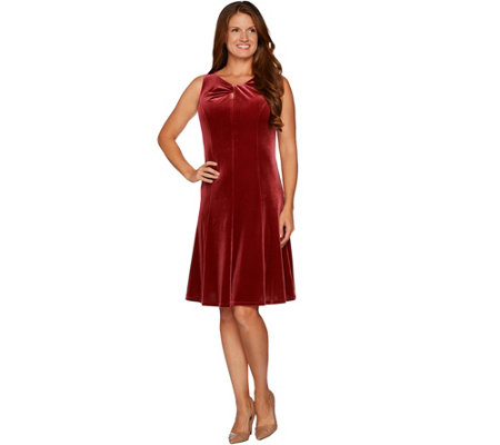 Susan Graver Stretch Velvet Sleeveless Twist Neck Dress