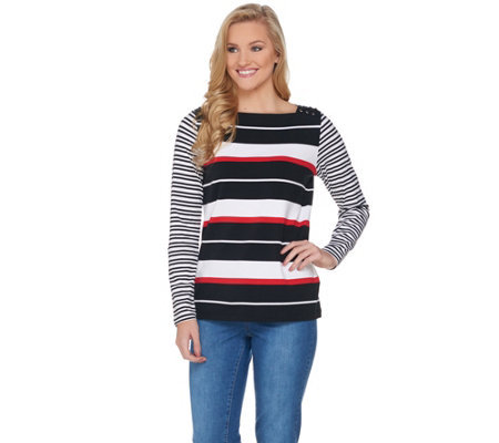 """As Is"" Susan Graver Weekend Striped Cotton Modal Top with Lacing"