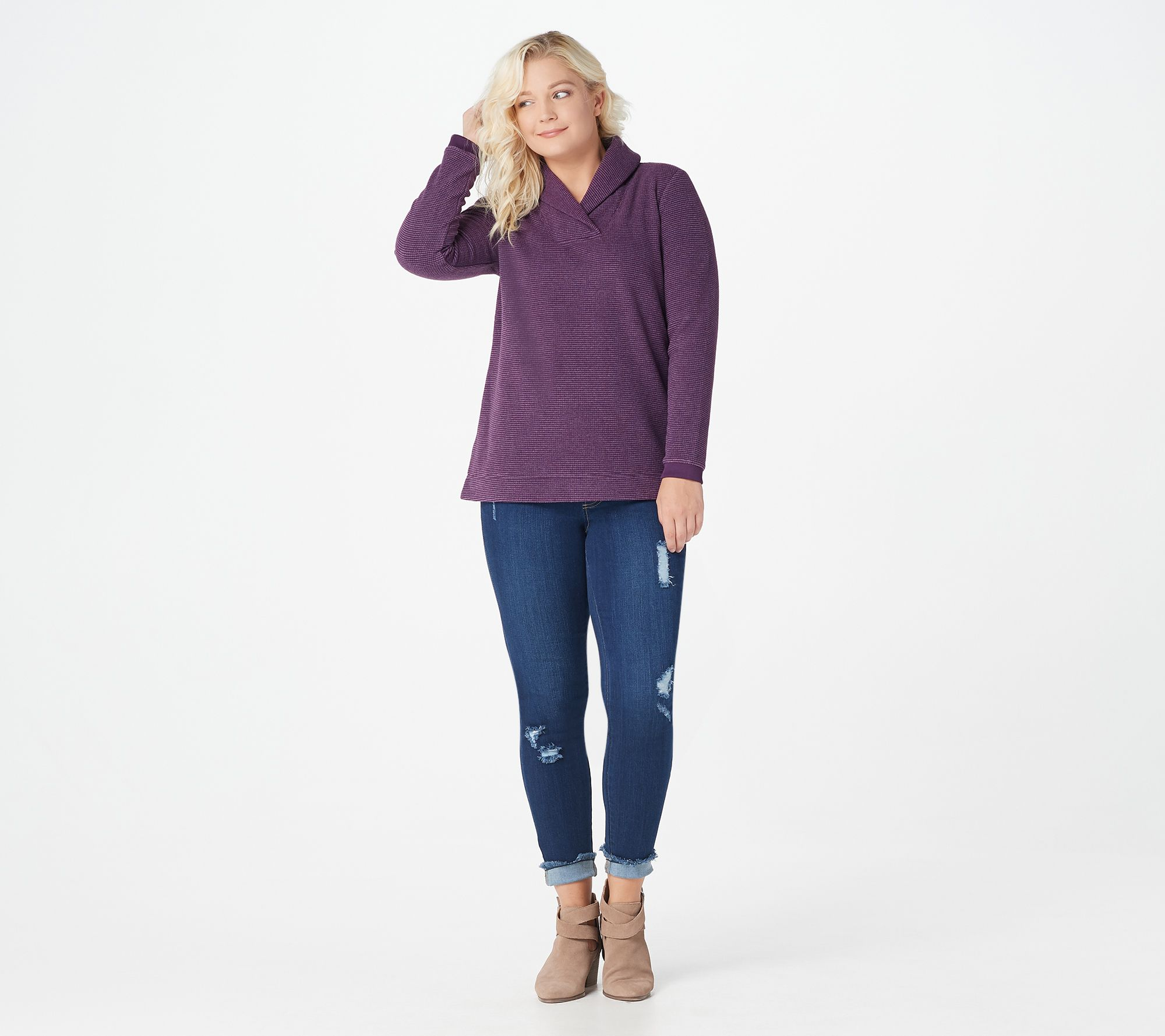 Denim /& Co Petite Shawl Collar Long Sleeves Fleece Tunic Top Black PXS Size QVC