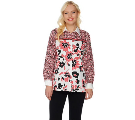 """As Is"" Bob Mackie's Button Front Floral Printed Top w/ Point Collar"
