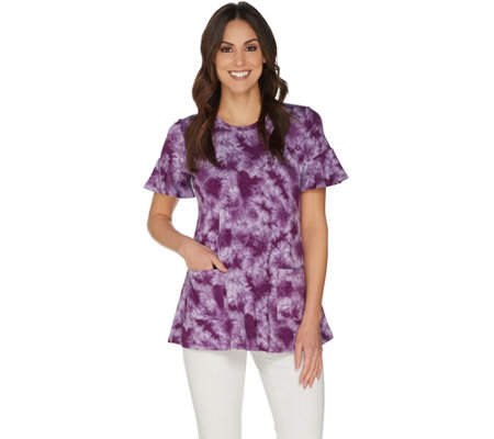 LOGO Lounge by Lori Goldstein French Terry Tie-Dye Top w/ Flounce Sleeves