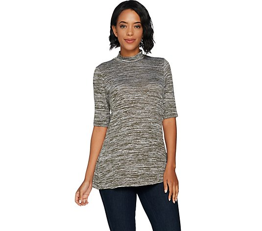 """As Is"" Lisa Rinna Collection Mock Neck Knit Tunic"