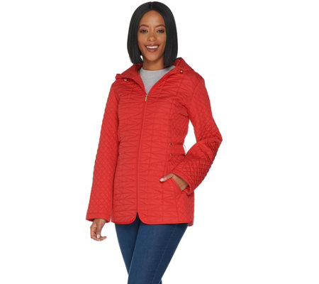 Susan Graver Quilted Jacket with Zip Pockets and Hood
