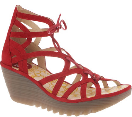 FLY London Leather Lace-Up Wedge Sandals - Yuke