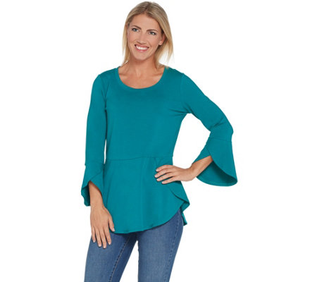 Isaac Mizrahi Live! Knit Peplum Top with Tulip Hem & Sleeve Detail