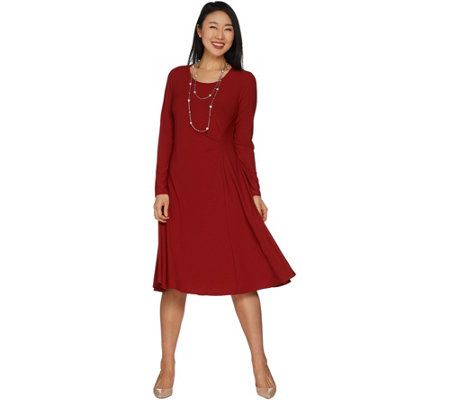 """As Is"" Dennis Basso Fit and Flare Caviar Crepe Dress w/ Tuck Detail"