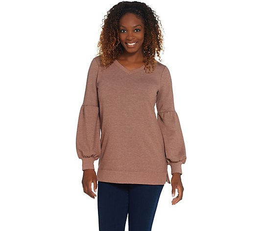 Isaac Mizrahi Live! TRUE DENIM Blouson Sleeve Sweatshirt