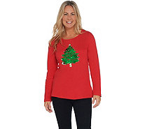 Quacker Factory Reversible Sequin Christmas Tree Knit Top - A344214
