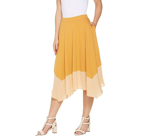 """As Is"" LOGO by Lori Goldstein Pull-On Skirt with Woven Flounce Hem"