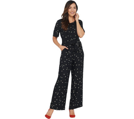 Vince Camuto Elbow Sleeve Ditsy Re-Set Belted Jumpsuit