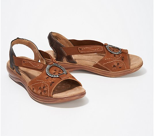 Earth Origins Leather Sandals with Metal Detailing - Stella Sabrina