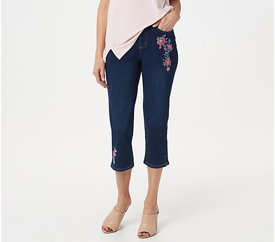 Belle by Kim Gravel Flexibelle Embroidered Cropped Jeans