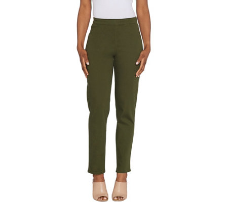 As Is Susan Graver Regular Stretch Twill Pull On Pants