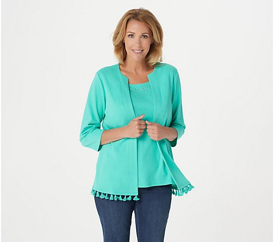 Quacker Factory 3/4-Sleeve Knit Duet with Rhinestone Detail