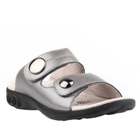 Therafit Leather Adjustable Strap Slip-On Sandals - Eva