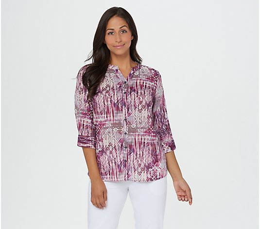 Denim & Co. Tribal Patchwork Printed Blouse