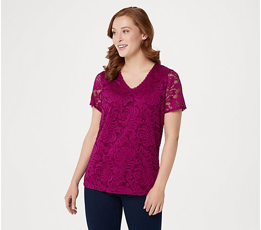 """As Is"" Susan Graver Stretch Lace Short- Sleeve V-Neck Top"