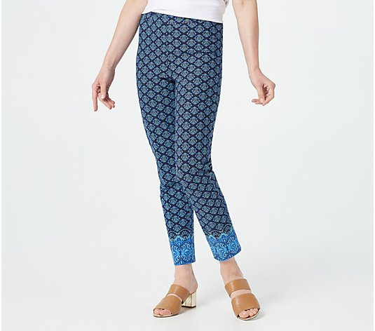 Isaac Mizrahi Live! Regular 24/7 Paisley Border-Printed Ankle Pants