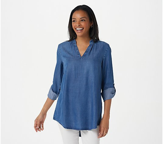Side Stitch Regular_Tencera Pullover Tunic with Roll Tab Sleeve