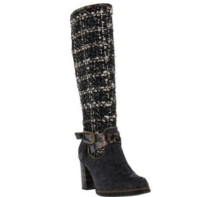L'Artiste by Spring Step Leather and Textile Boots - Tweed